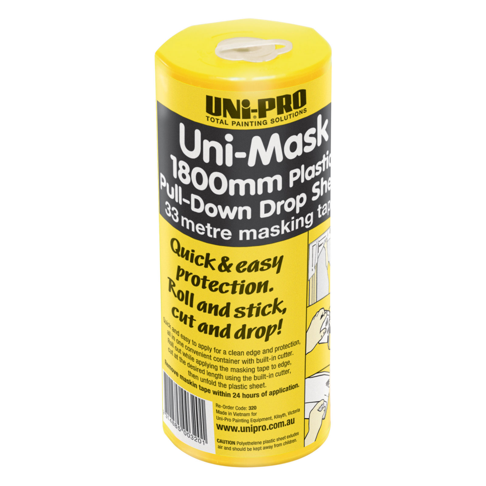 Uni-Mask Masking Tape & Pull-Down Plastic Drop Sheet