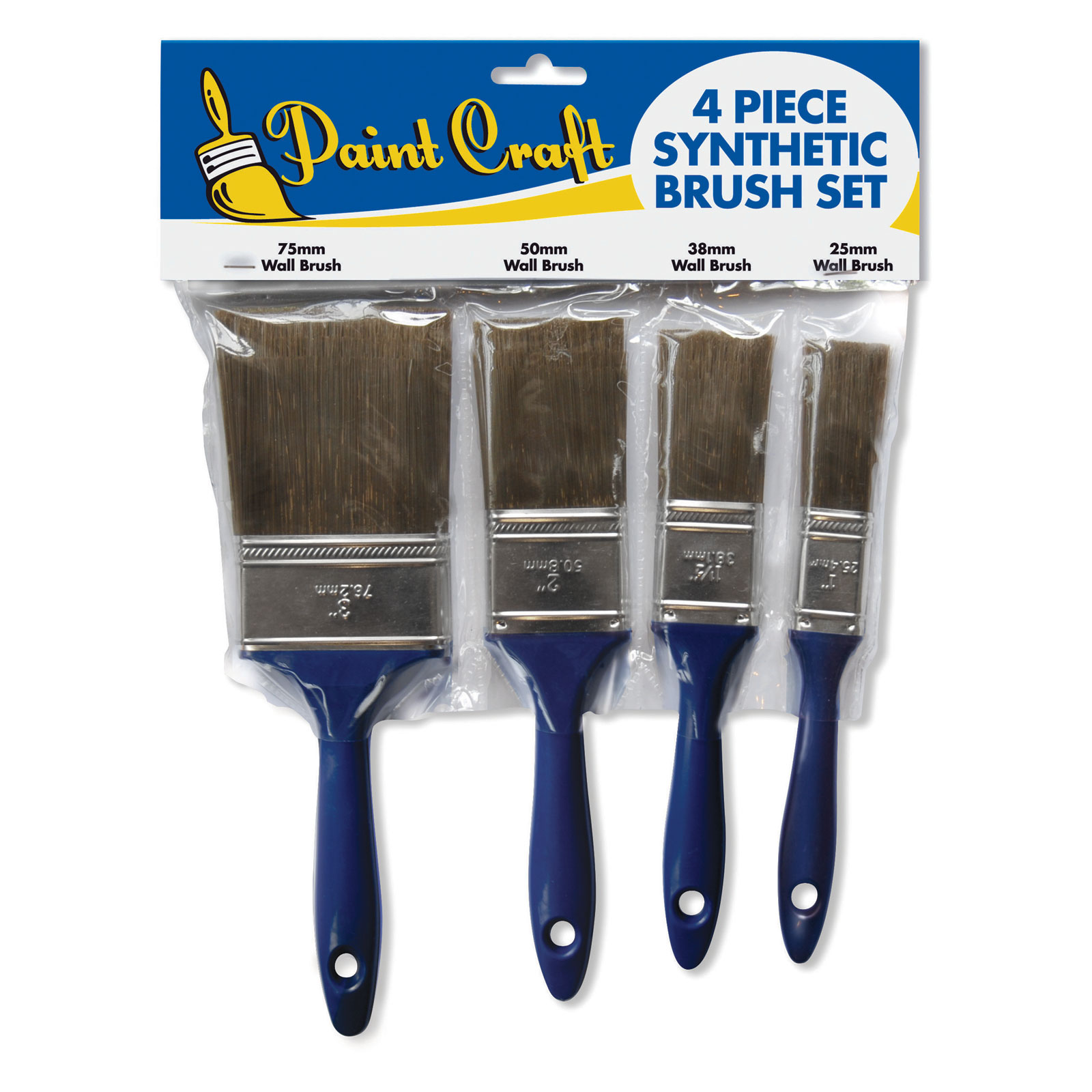 Paint Craft 4 Piece Synthetic Brush Set (25/38/50 & 75mm)