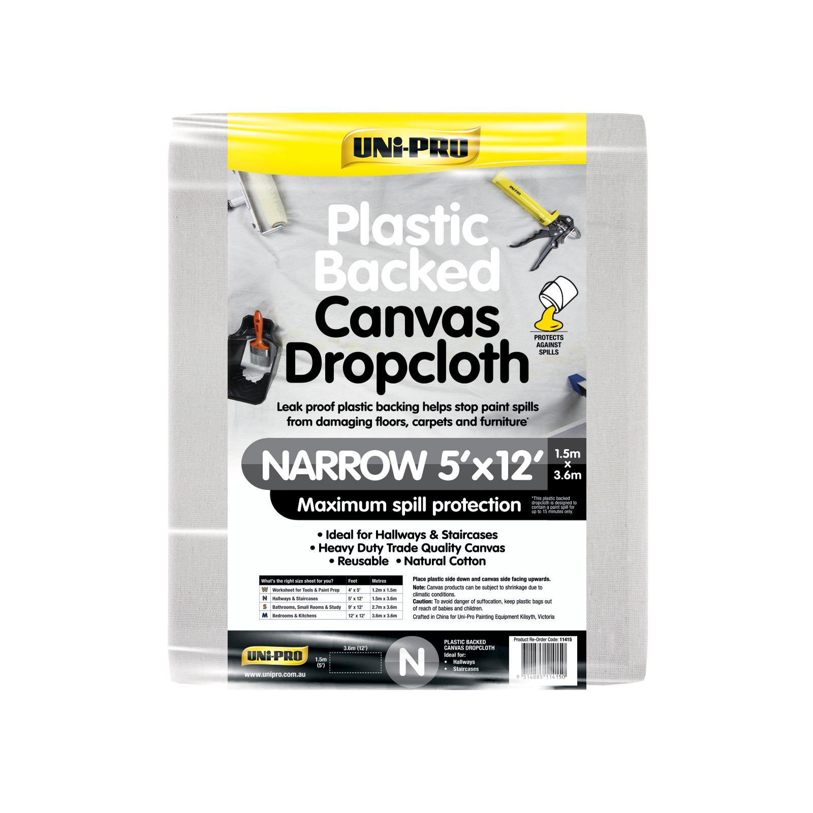 UNi-PRO Heavy Duty Plastic Backed Canvas Dropcloth Range