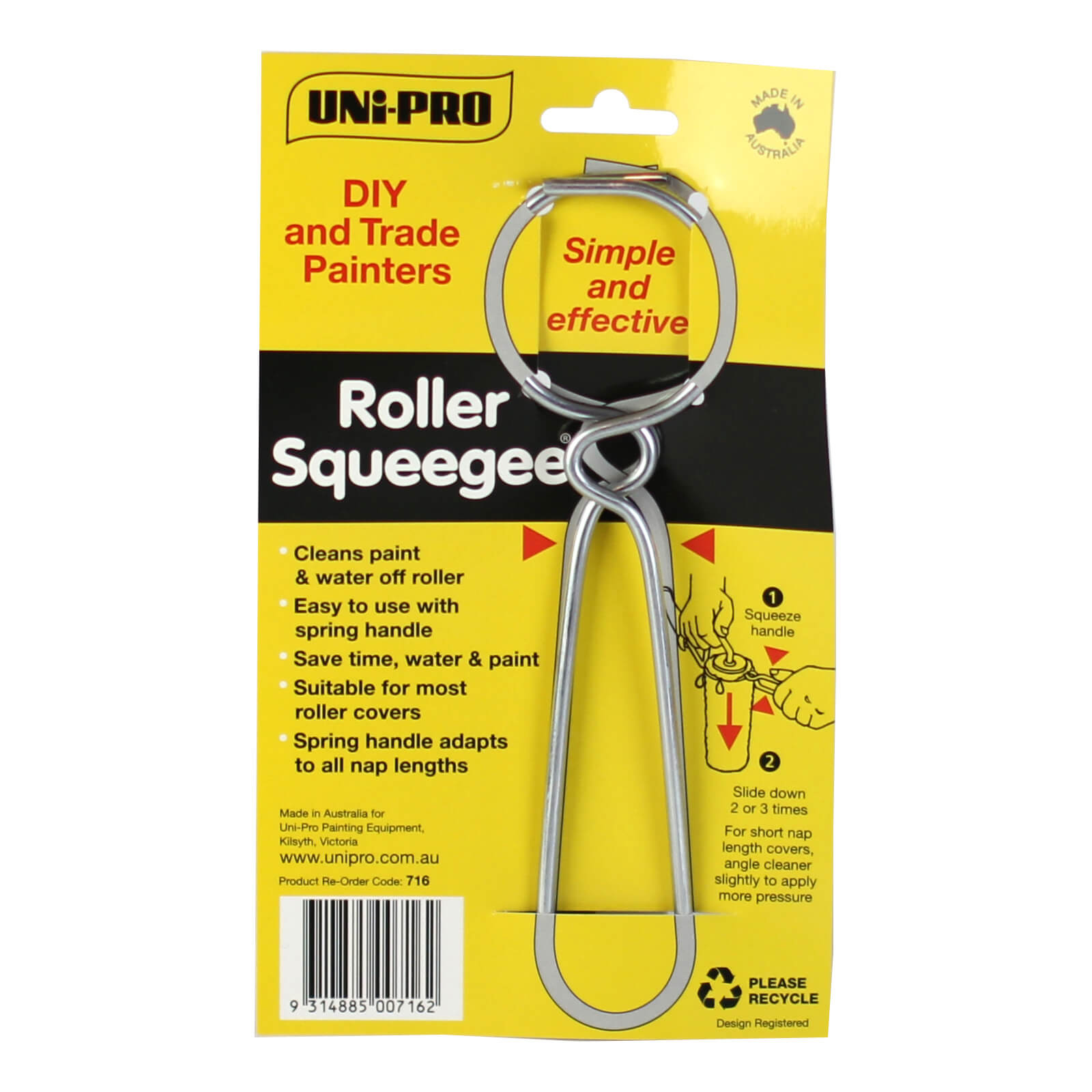 UNi-PRO Wire Roller Squeegee - Adjustable