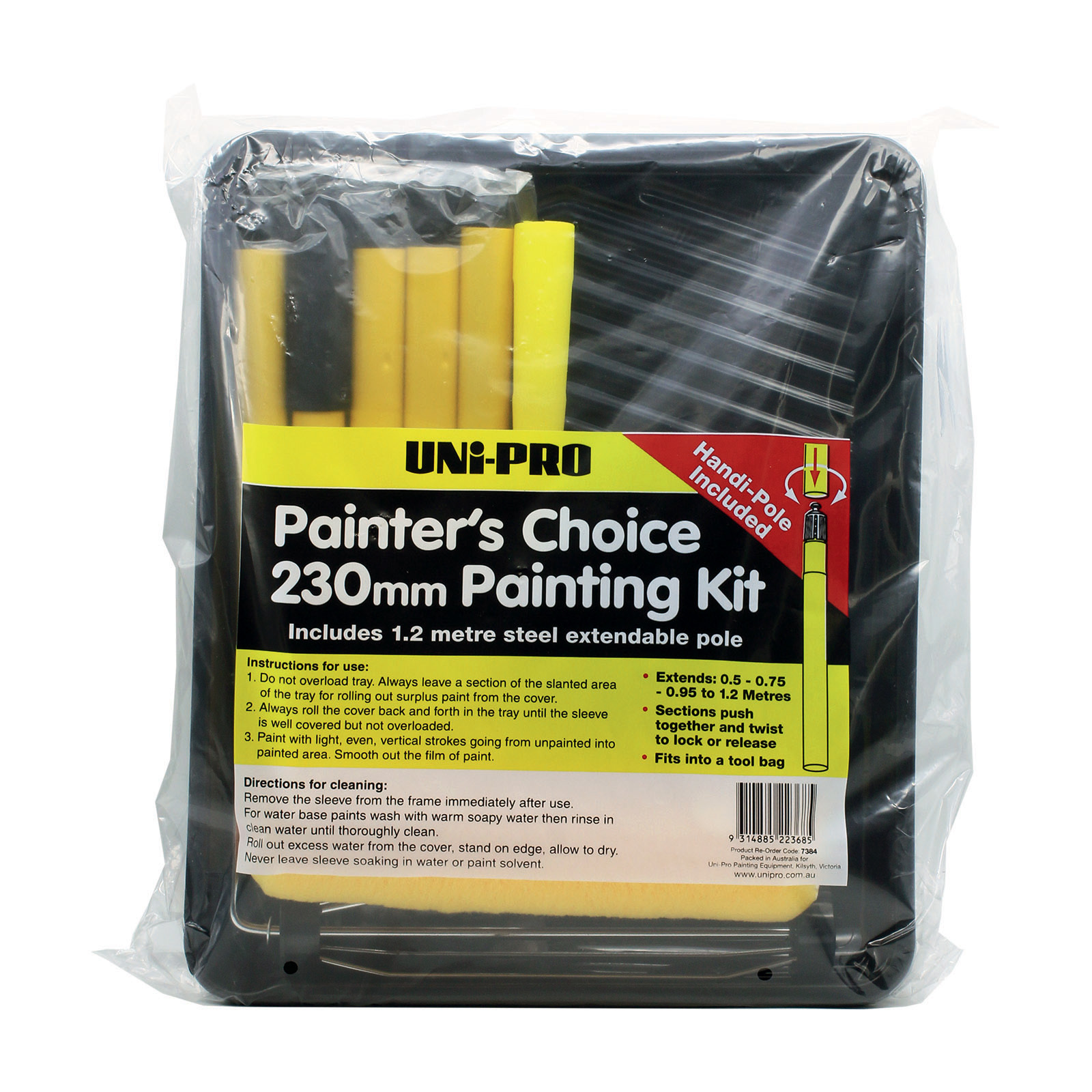 UNi-PRO 230mm Painter's Choice Roller Kit with 5 Section Pole